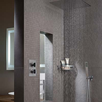 Shower room interior set with accessory basket, thermostatic valve, shower handset and head with falling water