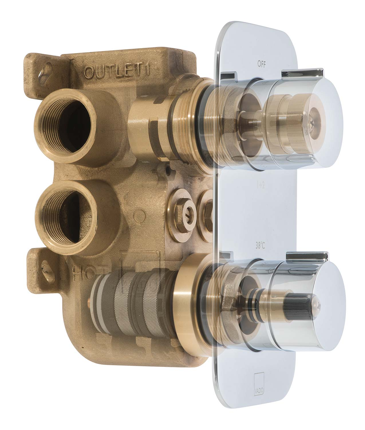 Cut-away of a thermostatic shower valve.