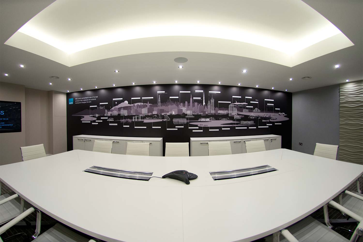 On location, new meeting room, photographed with a fisheye lens.